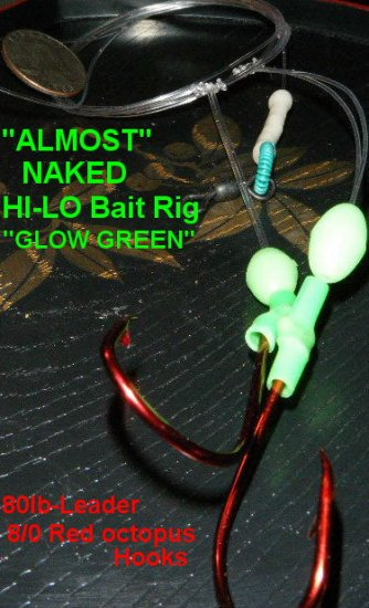 """""""MONTAUK"""" style Hi-LO Bait rig-8/0 Red Octopus 80lb """"NAKED"""""""