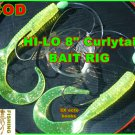 """Cod Rig!w/GIANT 8""""CHARTREUSE CURLY-TAIL TEASERS,8/0 KILLER 3X HOOK&80LB LEADER"""