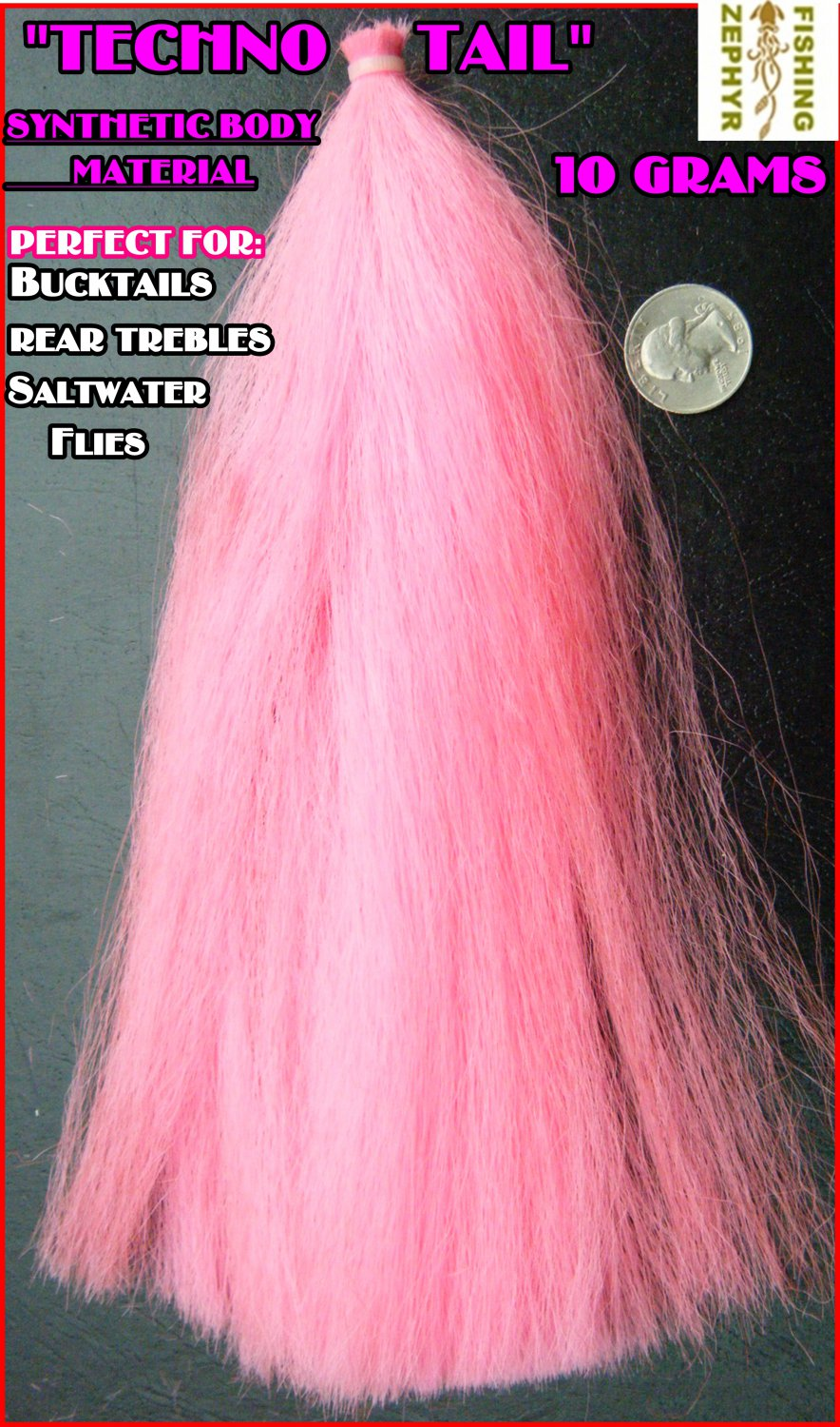 """NEW PINK """"TECHNO TAIL""""TIE TEASERS,FLY'S,BUCKTAILS-TOUGH SYNTHETIC*Easy to Tie:)"""