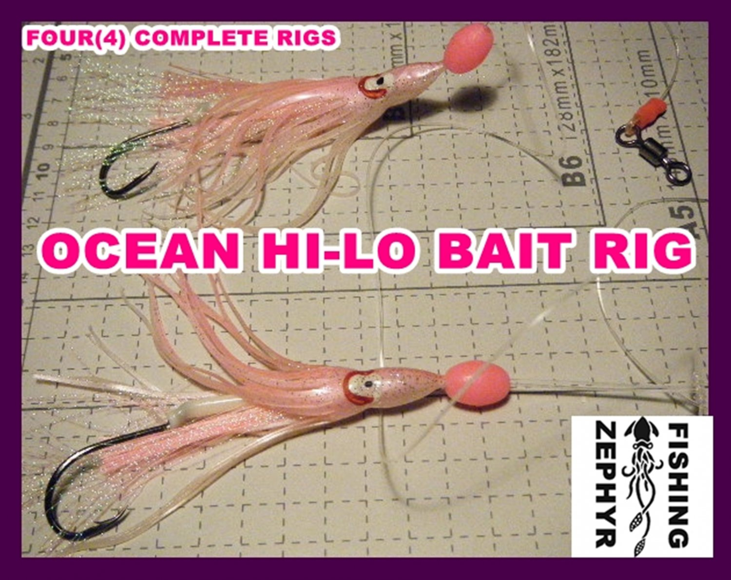 4-COMPLETE Bottom Hi-Lo Rig*CUSTOM HAND CRAFTED*5/0 3X_SEA BASS,COD,WEAKS,TANGLE FREE*A++**