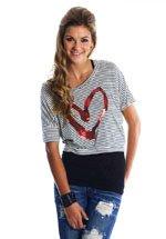 Striped Heart Top (S,M,L)