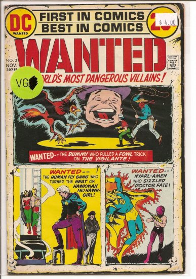 Wanted, The World's Most Dangerous Villains # 3, 4.0 VG