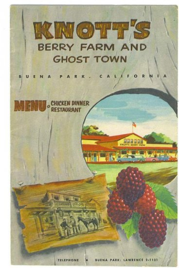 Knott's Berry Farm And Ghost Town Menu # 1958, 4.5 VG +
