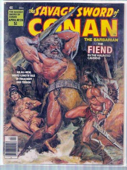 SAVAGE SWORD OF CONAN THE BARBARIAN # 28, 4.5 VG +