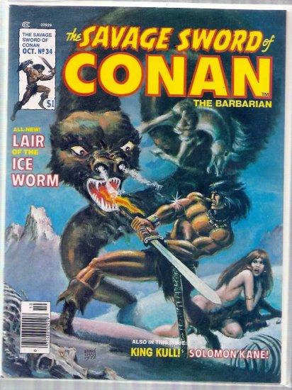 SAVAGE SWORD OF CONAN THE BARBARIAN # 34, 7.0 FN/VF