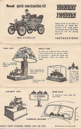 Inst Sheet 1903 Cadillac Highway Pioneers