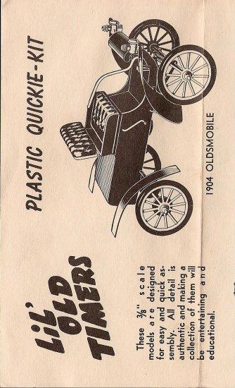 Inst Sheet 1904 Olds Lil Old Timers