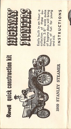 Inst Sheet 1909 Stanley Steamer
