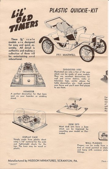 Inst Sheet 1911 Maxwell Lil Old Timers