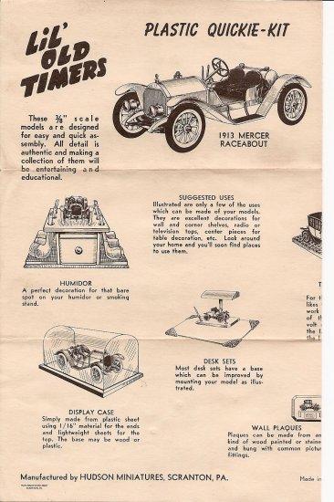 Inst Sheet 1913 Mercer Raceabout
