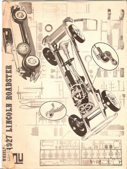 Inst Sheet 1927 Lincoln Roadster