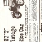 Inst Sheet 1927 T Vintage Police Car