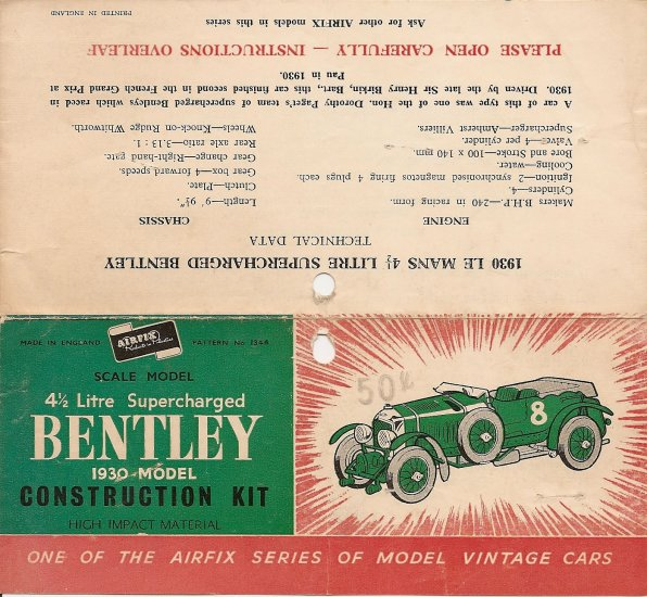 Inst Sheet 1930 Bentley