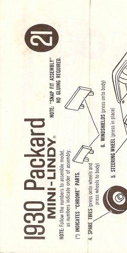 Inst Sheet 1930 Packard Mini Lindy