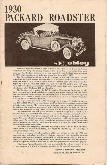 Inst Sheet 1930 Packard Roadster