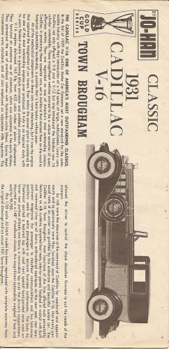 Inst Sheet 1931 Cadillac V 16 Town Brougham