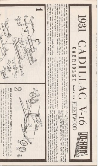 Inst Sheet 1931 Cadillac V16
