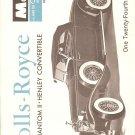Inst Sheet 1931 Rolls Royce Phantom