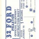 Inst Sheet 1932 Ford Phaeton Blueprint