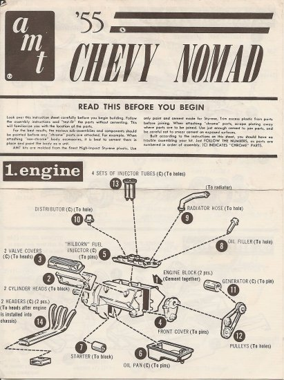 Inst Sheet 1955 Chevy Nomad