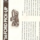 Inst Sheet 1956 Ford Pick up