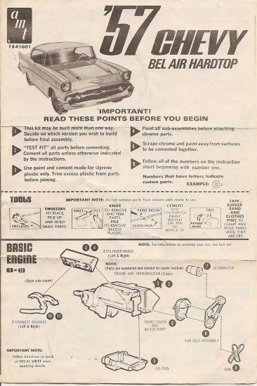 Inst Sheet 1957 Chevy Bel Air Hardtop