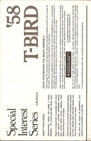 Inst Sheet 1958 T Bird