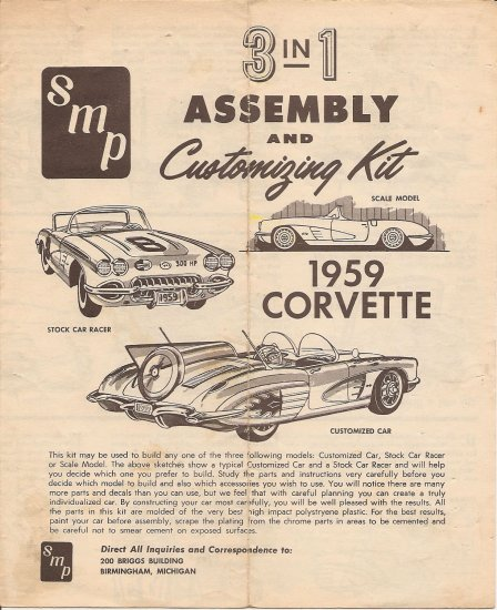 Inst Sheet 1959 Corvette 3 in 1