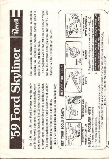 Inst Sheet 1959 Ford Skyliner