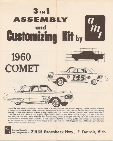 Inst Sheet 1960 Comet 3 in 1