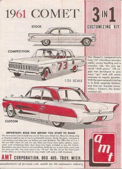 Inst Sheet 1961 Comet 3 in 1