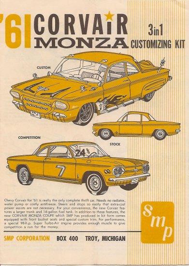 Inst Sheet 1961 Corvair Monza 3 in 1