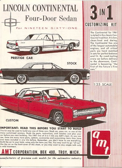 Inst Sheet 1961 Lincoln Continental Sedan 3 in 1
