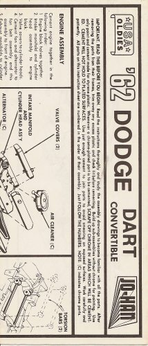 Inst Sheet 1962 Dodge Dart Conv