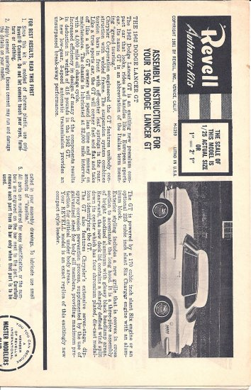 Inst Sheet 1962 Dodge Lancer GT