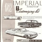 Inst Sheet 1962 Imperial Hardtop 3 in 1