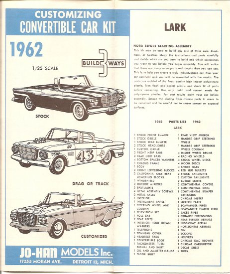 Inst Sheet 1962 Lark Build 3 Way