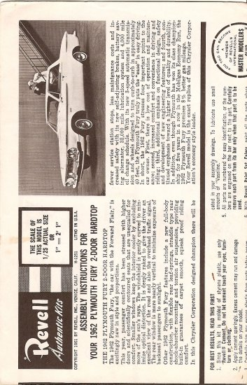 Inst Sheet 1962 Plymouth Fury