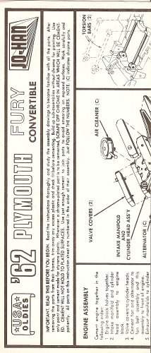 Inst Sheet 1962 Plymouth Fury Conv