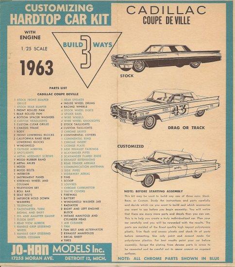 Inst Sheet 1963 Cad Coupe De Ville Build 3 Way
