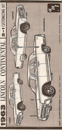 Inst Sheet 1963 Lincoln Continental Convertible 3 in 1