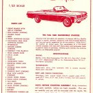 Inst Sheet 1963 Olds Starfire