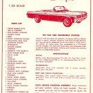 Inst Sheet 1963 Olds Starfire