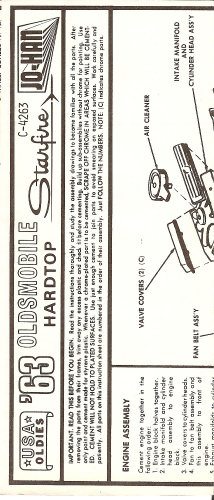Inst Sheet 1963 Olds Starfire USA Oldies