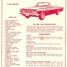 Inst Sheet 1963 Plymouth Fury Convertible
