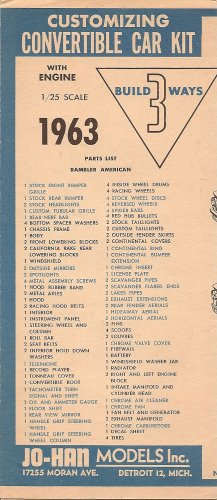 Inst Sheet 1963 Rambler American Conv