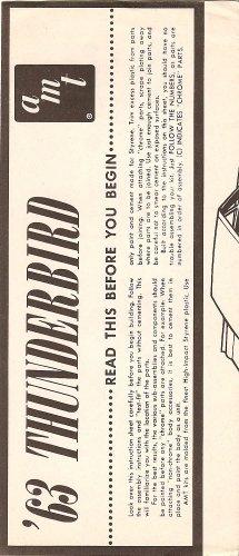 Inst Sheet 1963 Thunderbird