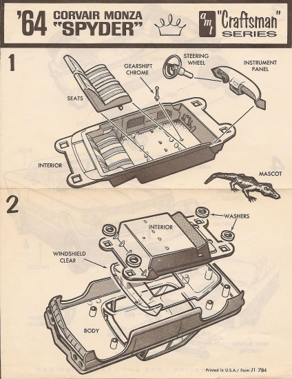 Inst Sheet 1964 Corvair Spyder Craftsman Ser