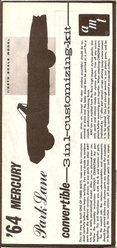 Inst Sheet 1964 Mercury Park Lane Conv 3 in 1