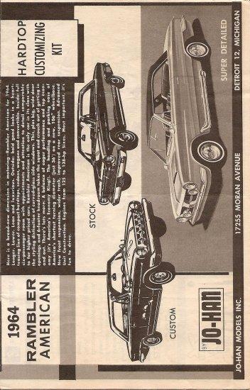Inst Sheet 1964 Rambler American